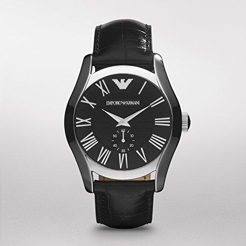 Emporio Armani Men's AR0643 Classic Black Leather Black Roman Numeral Dial - Armani Exchange Armani Emporio And