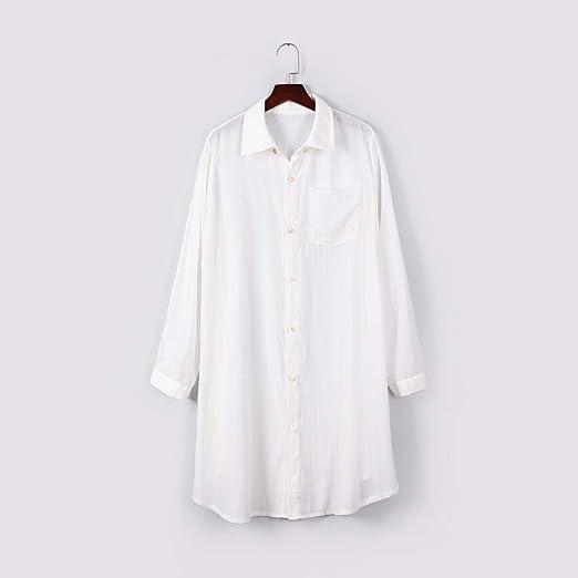 Vestido Corto de Manga Larga con Botones para Mujer, Color Blanco ...