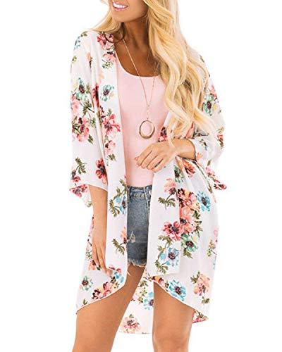 Womens Floral Chiffon Casual Cardigan - Bikini Half Sleeve Kimono Shawl Sun Protection Blouses Beach Wear Cover ups (S, Pure White)