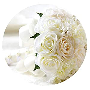 TaeHyung Mint Blue Wedding Bouquets Artificial Silk Flowers Wedding Decorations Roses Wedding Bridal Bouquet with Berries Fe52,Cream 92