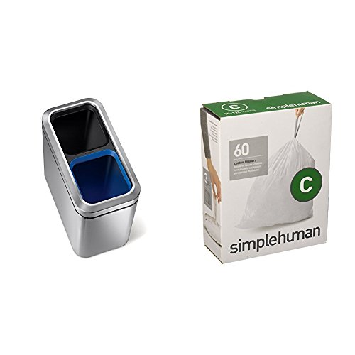 Cheap  simplehuman 20 litre dual compartment slim open can fingerprint-proof brushed stainless steel..