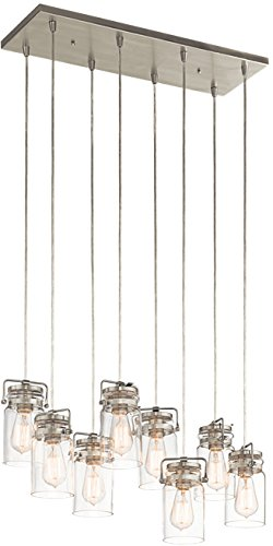 Kichler 42890NI Brinley Linear Chandelier 8-Light, Brushed Nickel - Kichler Green