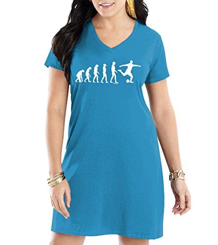 HAASE UNLIMITED Women's Evolution to Soccer V-Neck Nightshirt (Light Blue, Small/Medium)