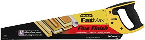 Stanley JetCut Handsäge fein, 500mm Länge, 11 Zähne/Inch, Bi-Material, Hardpoint-Verzahnung, 45°/90°-Anschlag, 2-15-599