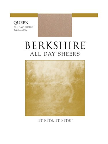 Berkshire Women's Plus-Size Queen All Day Sheer Non-Control Top Pantyhose - Reinforced Toe, Nude, (Day Sheer Control Top Pantyhose)