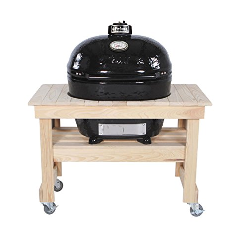 Primo Oval XL 400 Ceramic Smoker Grill On Compact Cypress Table by Primo