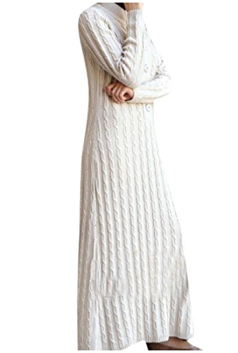 Classic Islamic Color Knit Full Length Dress Pure White Women Muslim Coolred awHxqf15n