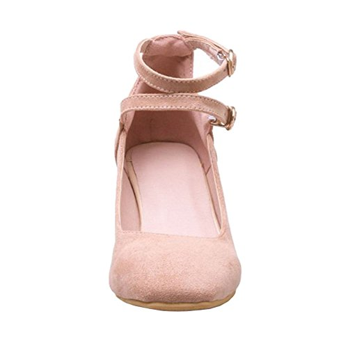 SJJH Suede with Court Large Heel Straps Casual Block and Cross Shoes Pink Shoes with rwrdqE8