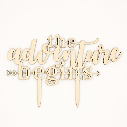 The Adventure Begins Wooden Wedding Cake Topper, Rustic Decoration
