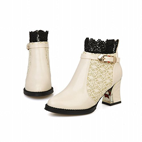 Charm Foot Womens High Heel Lace Dress Boots Ankle Boots Beige YSfnerCeAH