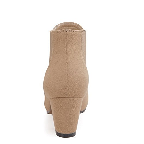 Kitten Nude Boots Imitated Heels Womens Closed Pull AllhqFashion Toe Round high Suede Ankle on YO47qZf