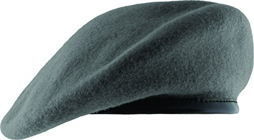 Unlined Beret with Leather Sweatband (6 3/4, Gray)