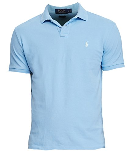 Polo Ralph Lauren Men's Classic-Fit Weathered Mesh Polo (X-Large, Blue) (Blue Classic Mesh Polo)