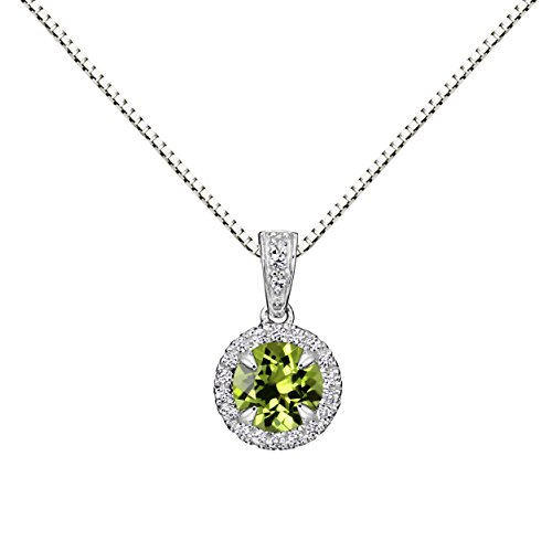 Sterling Silver 6mm Round Peridot and Created White Sapphire Halo Pendant Necklace, 18