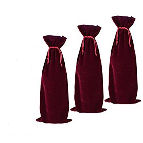 3 Pieces Wine Red Velvet Wine Bottle Bags champagne Bottle Covers Gift Pouches Velvet Packaging Bag 14cmx35cm (5.5