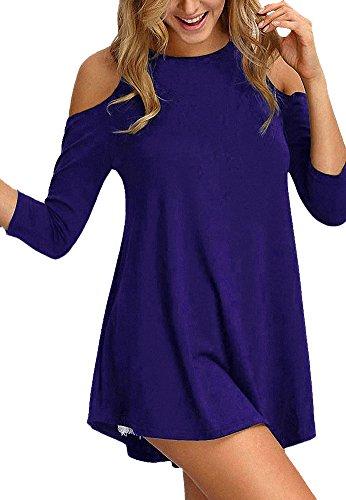 per a con gambali a da Camicie spalline Afibi mezza blu lunghe donna royal maniche manica qSXxPg
