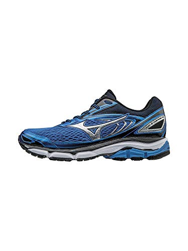 Mizuno Men's Wave Inspire 13 Running Shoe, Strong Blue/Silver, 9.5 D US