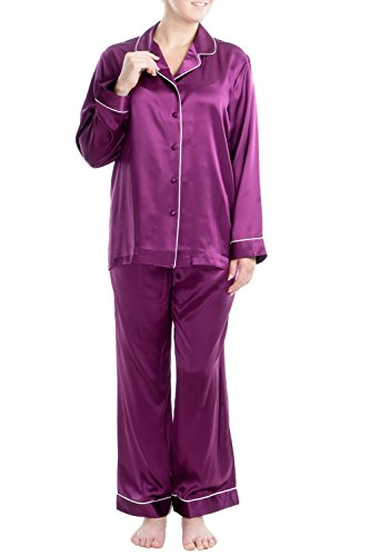 OSCAR ROSSA Women's Luxury Silk Sleepwear 100% Silk Pajamas Set Ruby Wine