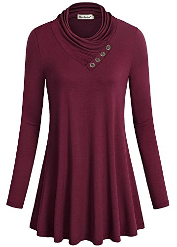 Women Knit, Nandashe Trendy Plain Sleeve Cowl Neck Formal Fit Blouse Wine - Wool Skirt Lightweight Pencil