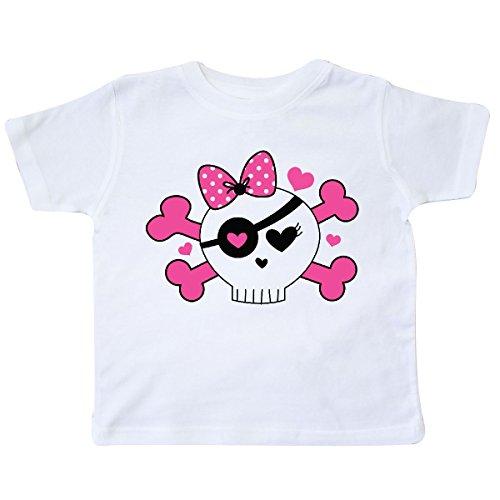 inktastic - Girl Pirate Skull Valentine Toddler T-Shirt 2T White f076 ()