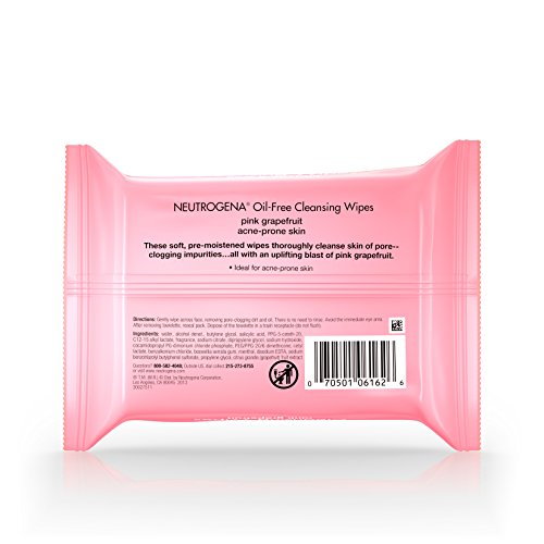 Neutrogena Oil Free Facial Cleansing Makeup Wipes with Pink Grapefruit, Disposable Acne Face Towelettes to Remove Dirt, Oil, and Makeup for Acne Prone Skin, 25 ct - Pack of 6 by Neutrogena (Image #4)