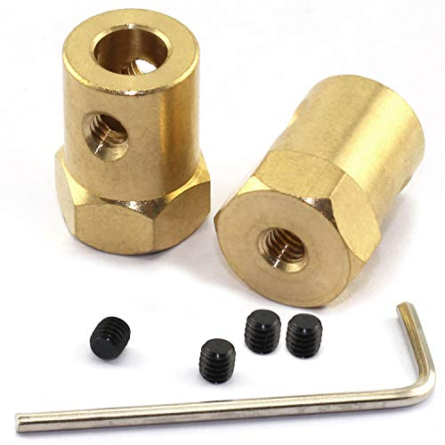 Magic&Shell 2-Pack 6mm Hex Brass Shaft Coupling Metal Axis Bearing Fittings DIY Model Accessory Shaft Hexagonal Coupler Motor Connector