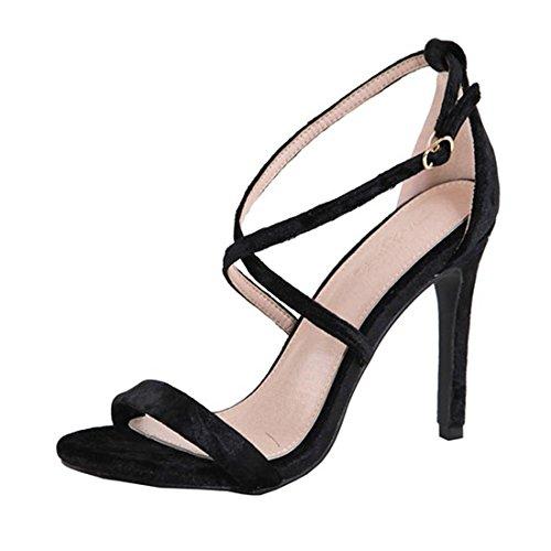 Sandalo In Velluto Nero Con Cinturino E Tacco Alto, Scarpe Con Tacco Alto, Taglia 8.5