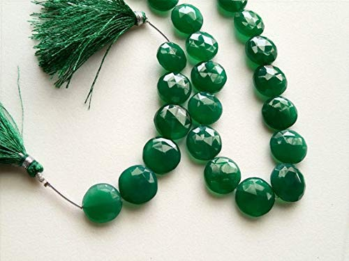 GemAbyss Beads Gemstone 1 Strand Natural Green Onyx Faceted Coins, 14-16mm Green Onyx Coin Beads, Emerald Green Onyx 4 Inch Long Long Code-MVG-17493 ()