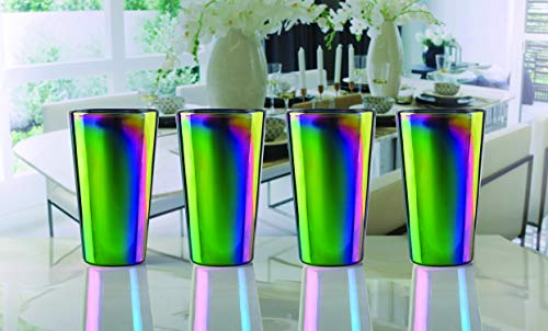 Circleware Rainbow Fusion Set of 4-16.9 oz Heavy Base Highball Drinking Glasses, Beverage Glassware for Water, Beer, Liquor, Whiskey, Bar and Decor Gifts, 4pc