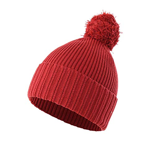 Red Kids Beanie (LLmoway Womens Girls Winter Knit Beanie Hat Soft Thick Chunky Warm Skull Ski Cap with Pompom, Red)