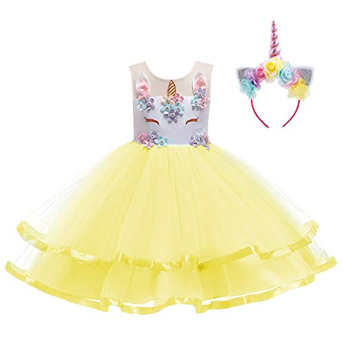 Kids Girls Flower Tulle Birthday Unicorn Costume Cosplay Princess Pageant Tutu Dress up Headband Party Outfits Evening Short Gown Yellow with Headband 11-12 Years -