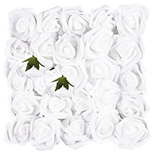 Juvale Rose Flower Heads - 25-Pack Artificial Roses, Perfect for Wedding Decorations, Baby Showers, Crafts, Bouquets and Centerpieces Arrangements, White, 3 Inches in Diameter 102