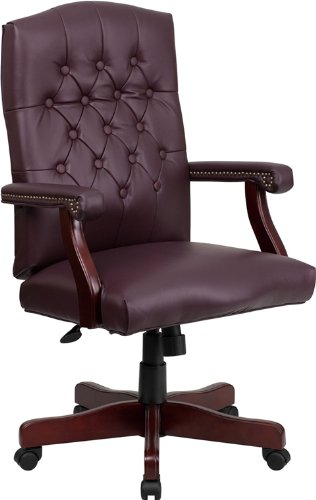 Emma + Oliver Martha Washington Burgundy Leather Executive Swivel Office Chair with Arms