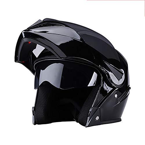 YXDDG Casco de Moto Abatibles de Doble Viseras Casco de Cara Completa, Bufanda de Cuello Desmontable de Invierno-H 54-60cm