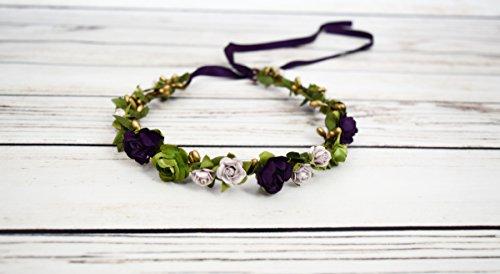 Handcrafted Dark Purple Pastel Lavender Gold and Green Flower Crown - Woodland Halo - Purple Bridesmaid Crown - Renaissance Flower Crowns - Adult Flower Crown