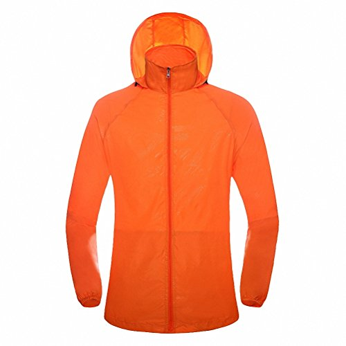 Maoko Sports Outdoor Running Windbreaker Jacket with Hood- Lightweight Sun UV Protection Orange (Little Miss Riding Hood)