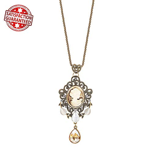 IDesign Vintage Long Pendant Necklace Retro Brown Victorian Cameo Crystal Charm Teardrop Antique Gold Necklace for Women Gift for Mother