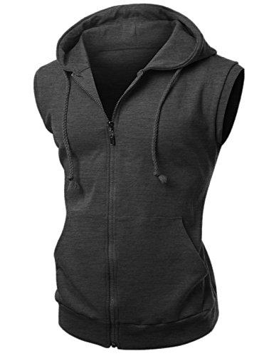 Xpril Basic Solid Cotton Based Zipper Vest Hoodie Charcoal Size M