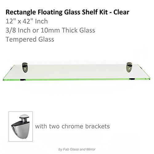 Fab Glass and Mirror Rectangle Floating Glass Shelf Kit Tempered 3/8