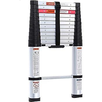 Lionladder 12.5FT ANSI Type I Aluminum telescoping ladders - Extendable Slow-Down Telescopic Ladder