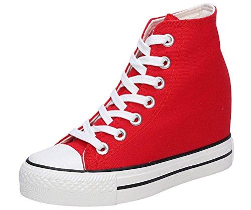 Scarpe Di Tela Da Donna Con Tacchi Nascosti, Sneakers Piattaforma Casual Zeppe Di Tela Da Sole 4 Colori Rosso
