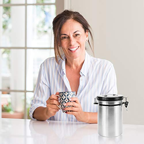 Primica Stainless Steel Coffee Canister - Premium Coffee Container Airtight Storage with Scoop for Easy Portioning by Primica (Image #1)