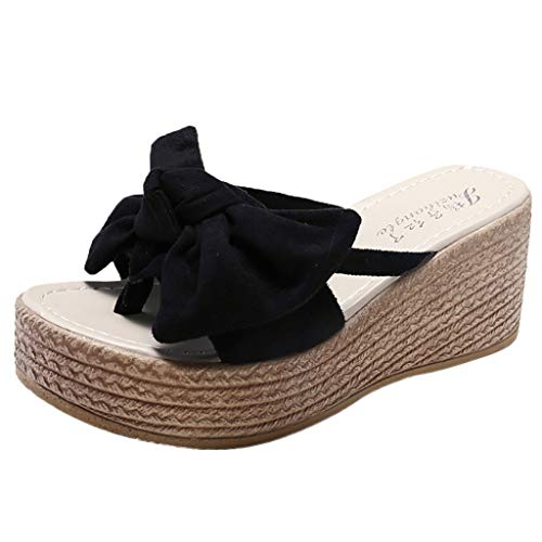 - Bow Sandals for Women,LYN Star❤ღ♕ Platform Slip On Espadrille Wedge Slide Sandals Bowtie Knot Open Toe Summer Mules Shoes Black