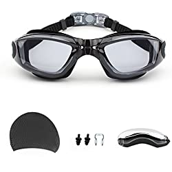 Swimming Goggles,GUQI Swim Goggles for Adult Men Women Youth Kids Child with Cap,Nose Clip,Ear Plugs,No Leaking Comfortable Anti Fog Lens