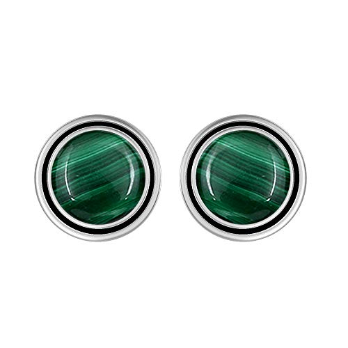 (Natural 8mm Round Shape Malachite Stud Earrings 925 Silver Plated Handmade Stud Earrings Jewelry For Women)