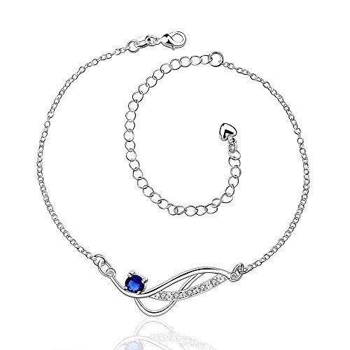 Zhiwen Women's 925 silver Chain Infinite Anklet Foot Bracelet Sandals Beach Feet Diamond Pendant Anklet Adjustable (Sapphire)