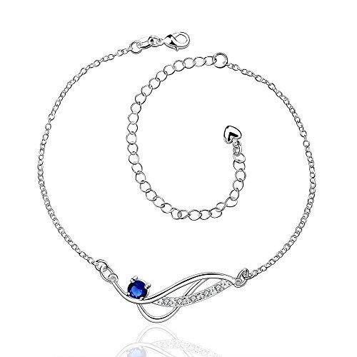 Zhiwen Women's 925 silver Chain Infinite Anklet Foot Bracelet Sandals Beach Feet Diamond Pendant Anklet Adjustable (Sapphire) by Zhiwen