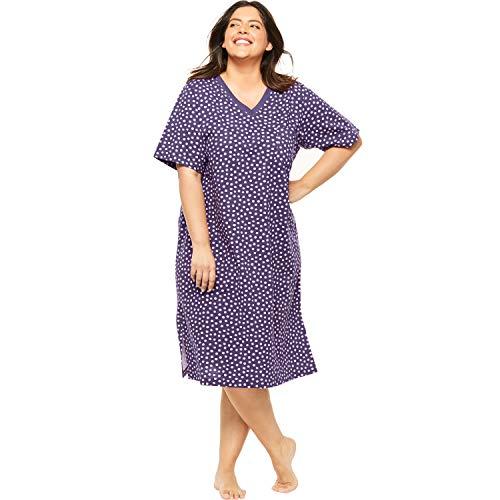 Dreams & Co. Women's Plus Size Print Sleepshirt - Rich Violet Dots, 1X/2X