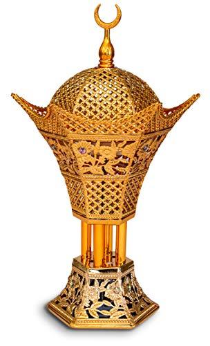 AM Bakhoor Charcoal Incense Burner - Oud Frankincense Resin Burner 10.5 Inches Tall - for Bakhoor Oud Incense Sticks Cones - Luxury Filigree, Gold