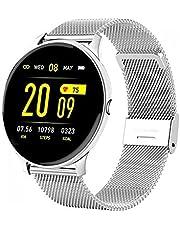 MIBYUZST Dames Smart Watch, Dames Fashion Watch, Hartslag Slaap Monitoring Van toepassing op Android IOS, Waterdichte Dames Smart Horloge (Zilveren mesh riem 2)